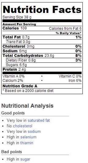 nutrition cinnamon raisin bread